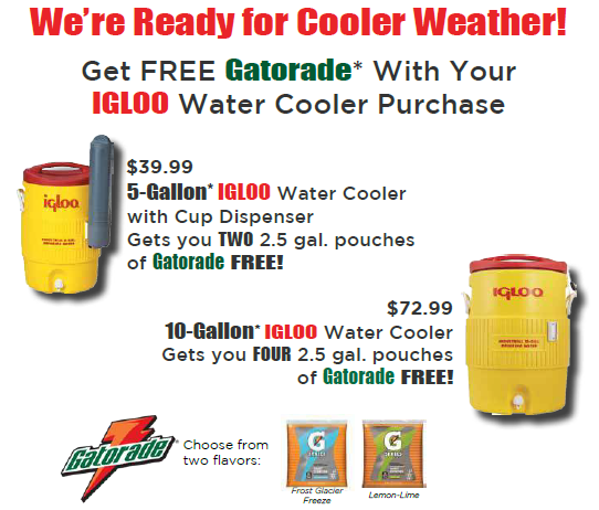 October 2017 Monthly Special - Igloo Coolers and Gatorade