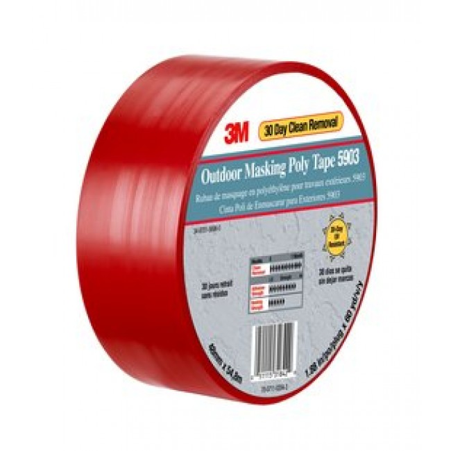 3m outdoor masking poly tape red 5903 coastal construction products for Exterior masking tape